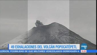 Popocatépetl registra 49 exhalaciones en las últimas horas