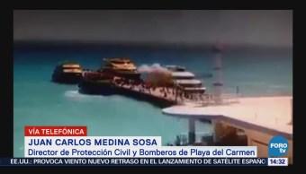 Ejército realiza peritaje por explosión en ferry en Playa del Carmen