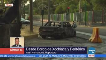 Se incendian dos vehículos tras choque en Bordo de Xochiaca y Periférico