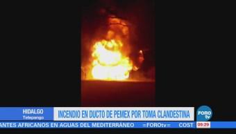 Se registra incendio por toma clandestina en Hidalgo
