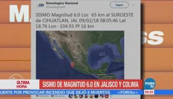Registra Sismo Magnitud 6 Jalisco
