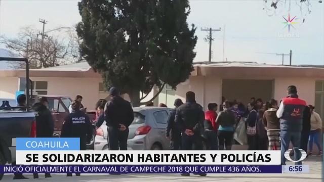 Se solidarizaron habitantes y policías en Saltillo, Coahuila