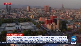 Sin novedad tras sismo de magnitud 7, informa Mancera