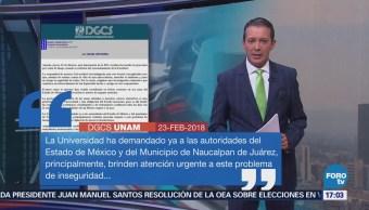 Unam Condena Violencia Zona Naucalpan