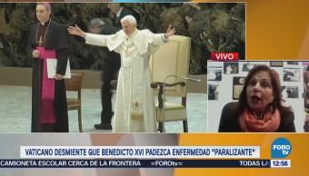 Vaticano desmiente que Benedicto XVI padezca enfermedad paralizante