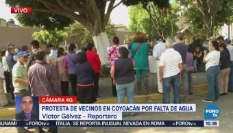 Vecinos de Coyoacán protestan por falta de agua