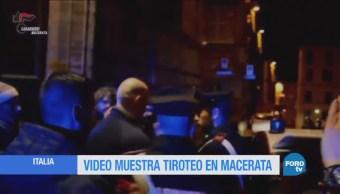 Video muestra tiroteo en Macerata, Italia
