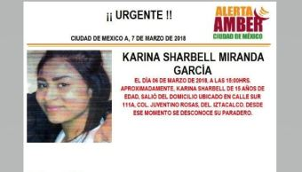 Activan Alerta Ámber para localizar a Karina Sharbell Miranda García