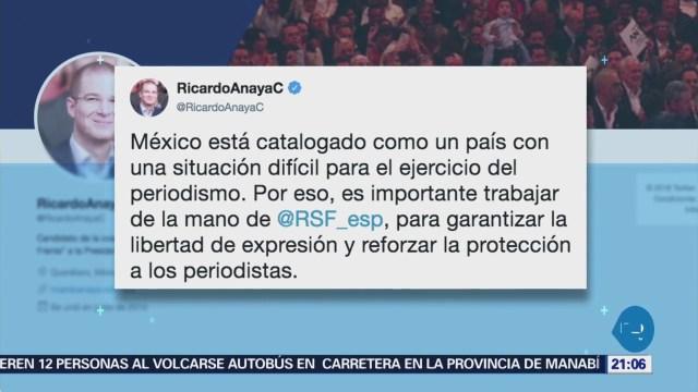 Anaya habla sobre situación difícil para el periodismo en México