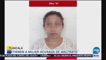Capturan a mujer acusada de golpear a menores, en Tlaxcala