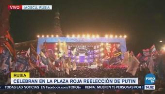 Celebran en la Plaza Roja reelección de Putin
