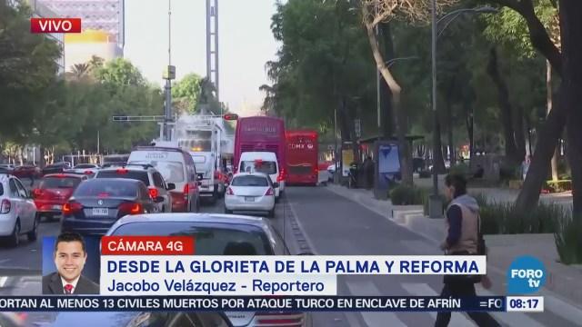 Circulan unidades del Metrobús sobre Paseo de la Reforma