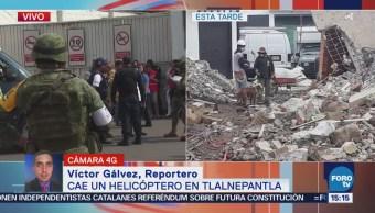 Desploma helicóptero en Tlalnepantla, Edomex