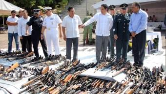 Destruyen más de mil armas de fuego en Acapulco, Guerrero