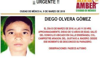 Activan Alerta Ámber para localizar a Diego Olvera en Gustavo A. Madero. (Twitter/@PGJDF_CDMX)