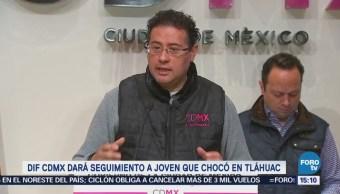 DIF CDMX dará seguimiento a joven que chocó en Tláhuac