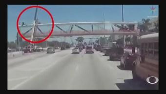 Difunden video del colapso de un pueDifunden video del colapso de un puente peatonal en Miaminte peatonal en Miami