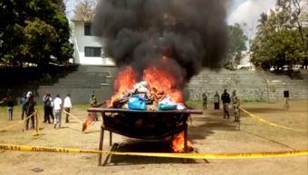 Incineran más de una tonelada de marihuana en Tapachula, Chiapas