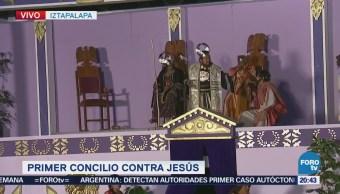 En el Jardín Cuitláhuac, actores representan el Concilio contra Jesús