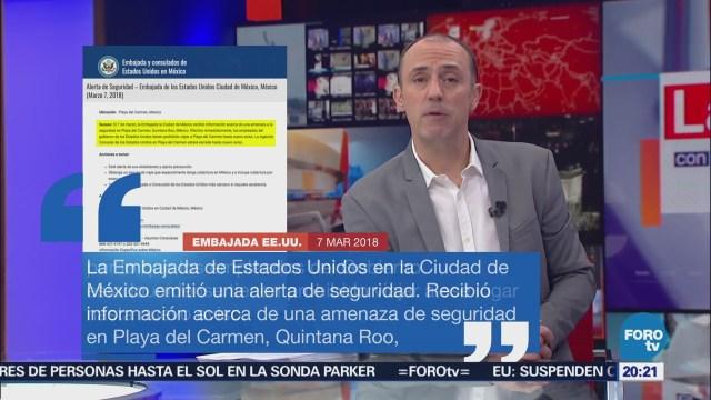 Estados Unidos emite alerta de viaje para Playa del Carmen