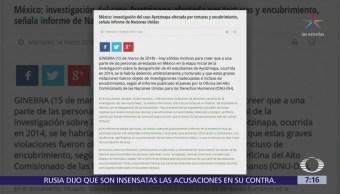 Gobierno de México responde a informe de ONU sobre caso Iguala