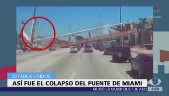Graban en video momento en que se derrumbó puente peatonal de Miami
