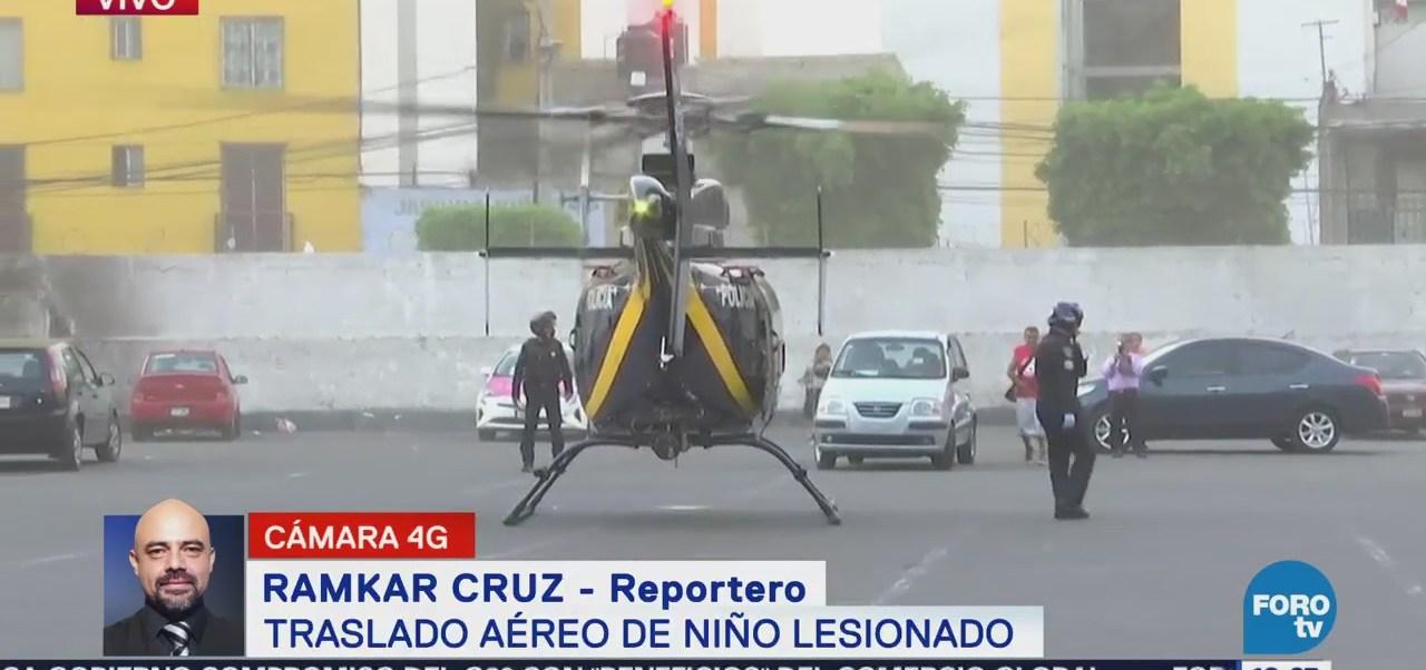 Helicóptero Sspcdmx Traslada Menor Fractura Craneoencefálica