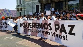 Manifestación y paro de labores por estudiantes desaparecidos en Jalisco