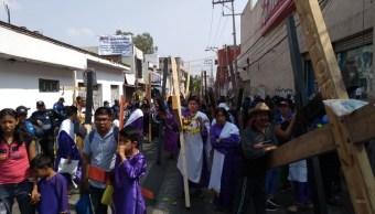 Saldo blanco en representación de Pasión de Cristo, en Iztapalapa