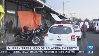 Mueren tres sujetos tras balacera en Tepito