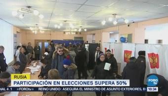 Participación en elecciones presidenciales en Rusia supera 50%