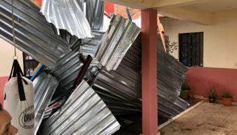 Remolino afecta 14 viviendas en San Cristóbal de las Casas, Chiapas