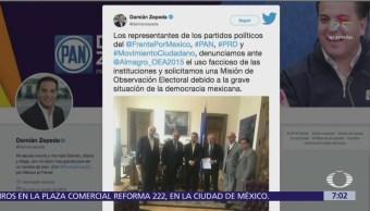 'Por México al Frente' denuncia ante OEA ataques contra Ricardo Anaya