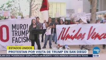 Protestan por visita de Trump, en San Diego