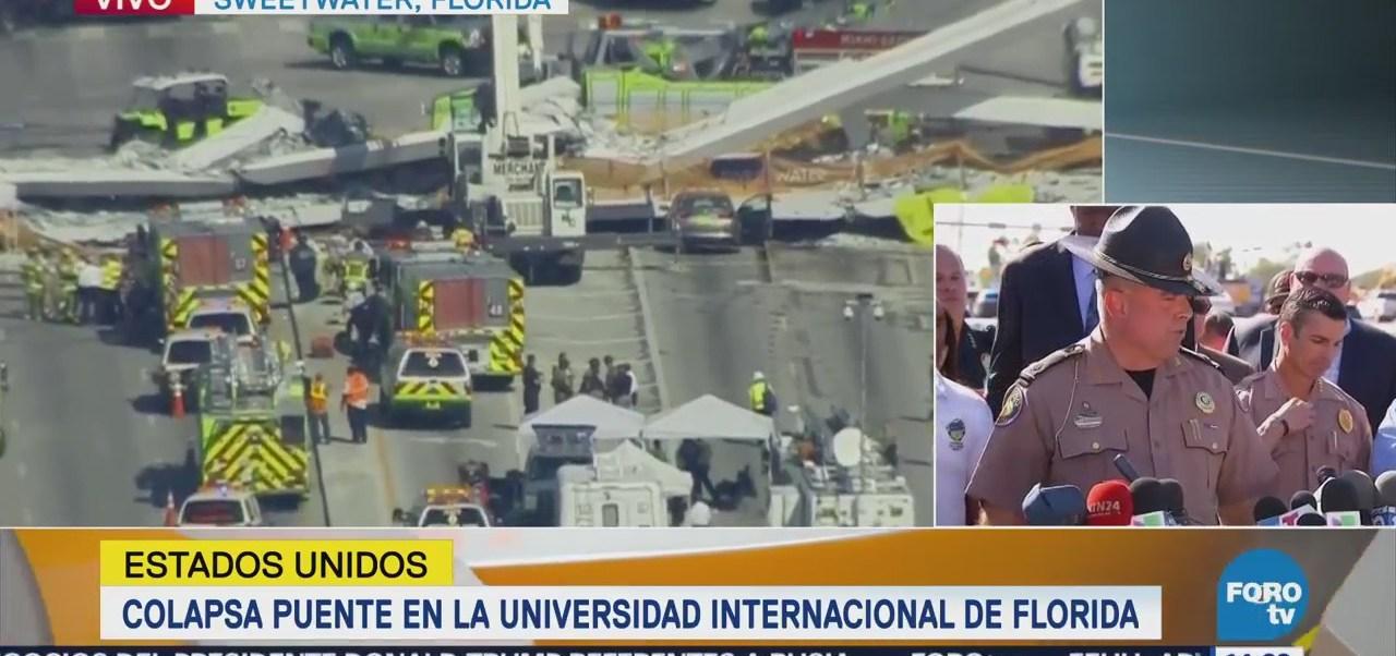Trasladan al hospital a ocho heridos por colapso de puente en Miami
