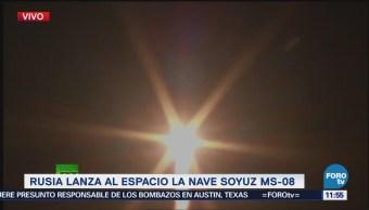 Rusia lanza al espacio la nave Soyuz MS-08