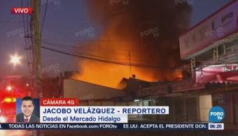 Se incendia Mercado Hidalgo en la colonia Doctores, CDMX