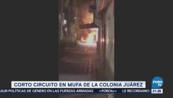 Se registra corto circuito en mufa de la colonia Juárez