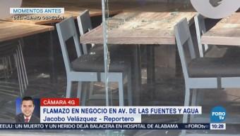 Se registra flamazo en negocio en Jardines del Pedregal, CDMX