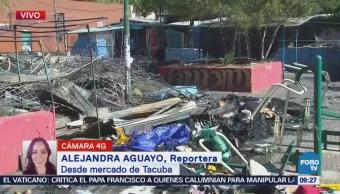 Se registra incendio en el mercado de Tacuba en la CDMX