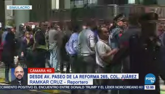 Simulacro de desalojo afecta lateral de Reforma, CDMX