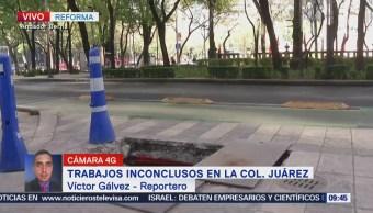 Trabajos inconclusos sobre carriles laterales de Paseo de la Reforma