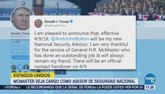 Trump reemplaza al general H.R. McMaster como asesor de seguridad nacional
