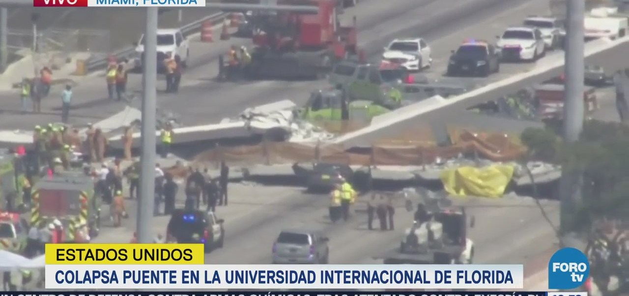 Varios muertos por derrumbe de puente peatonal en Florida