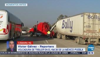 Volcadura de tráiler en el km 36 de la México-Puebla
