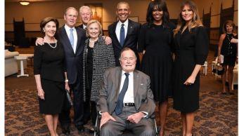Funeral de Barbara Bush reúne en una imagen a cuatro expresidentes