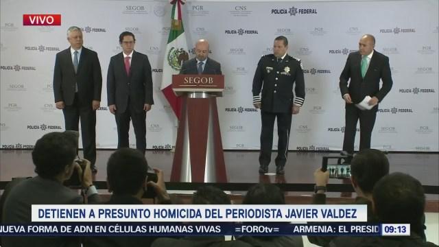 CNS confirma detención del presunto homicida del periodista Javier Valdez