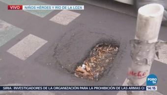 Dejan inconclusa reparación de bache en avenida Niños Héroes