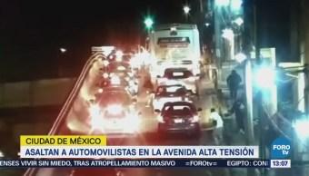 Difunden video de asalto contra automovilistas en Alta Tensión, CDMX