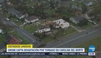 Drone capta daños causados por un tornado en Carolina del Norte